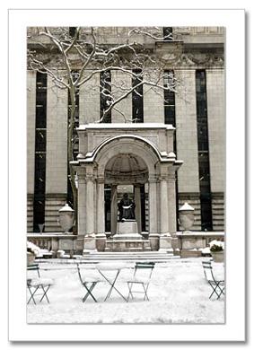 Snow Bryant Park NY Christmas Card HPC-2390