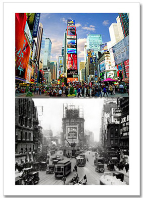 Times Square North Now and Then NY Christmas Card HPC-2303