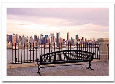 View Midtown Manhattan from Bench NY Christmas Card HPC-2132