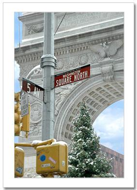 Washinton Square North Winter NY Christmas Card HPC-2303