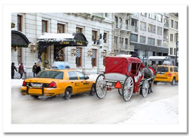 Yellow Cab and Carriage Central Park South Winter NY Christmas Card HPC2835