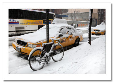 Yellow Taxi and Bicycle in Snow NY Christmas Card HPC-2567