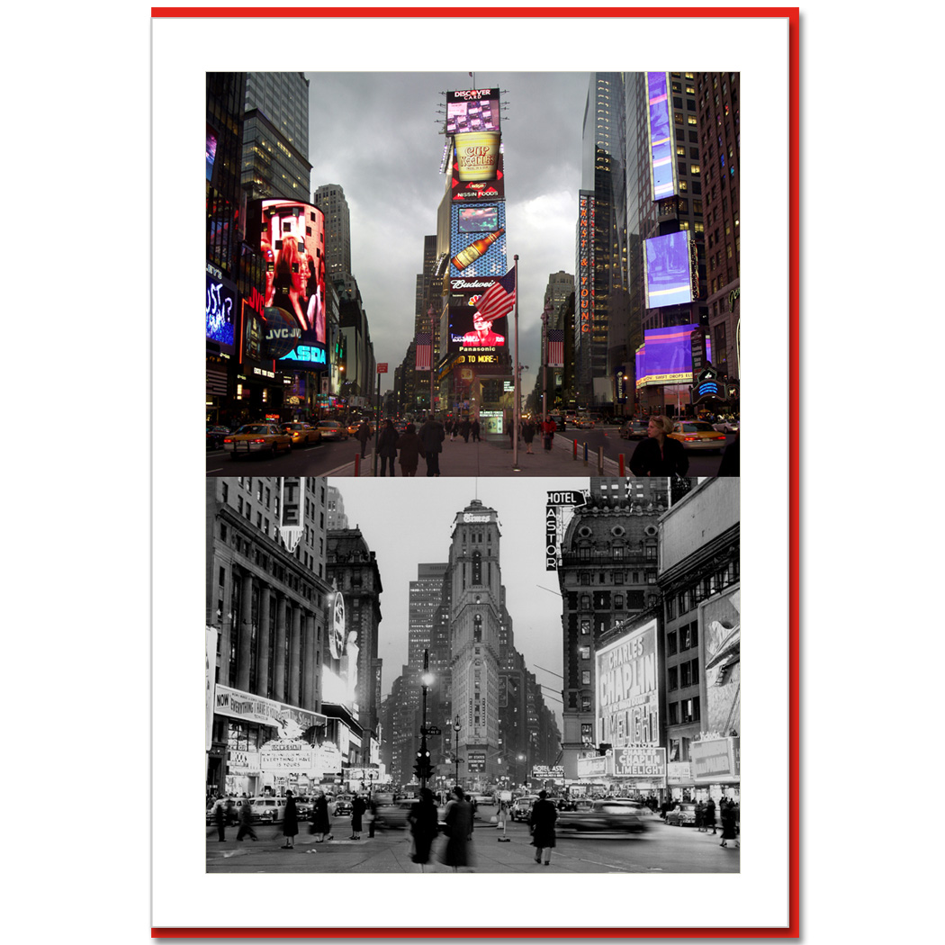 Times Square South Now and Then - NY Christmas Photo Card - NY ...