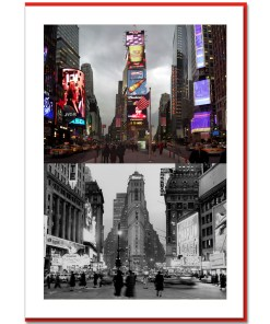 Times Square South Now and Then NY Christmas Card HPC2246