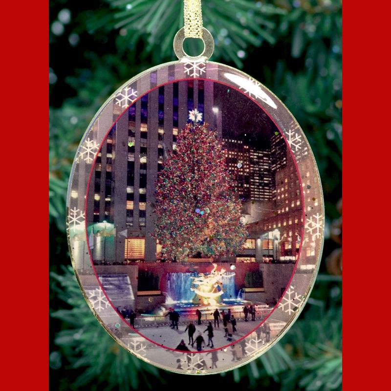 new york city tour bus glass ornament street sign glass christmas