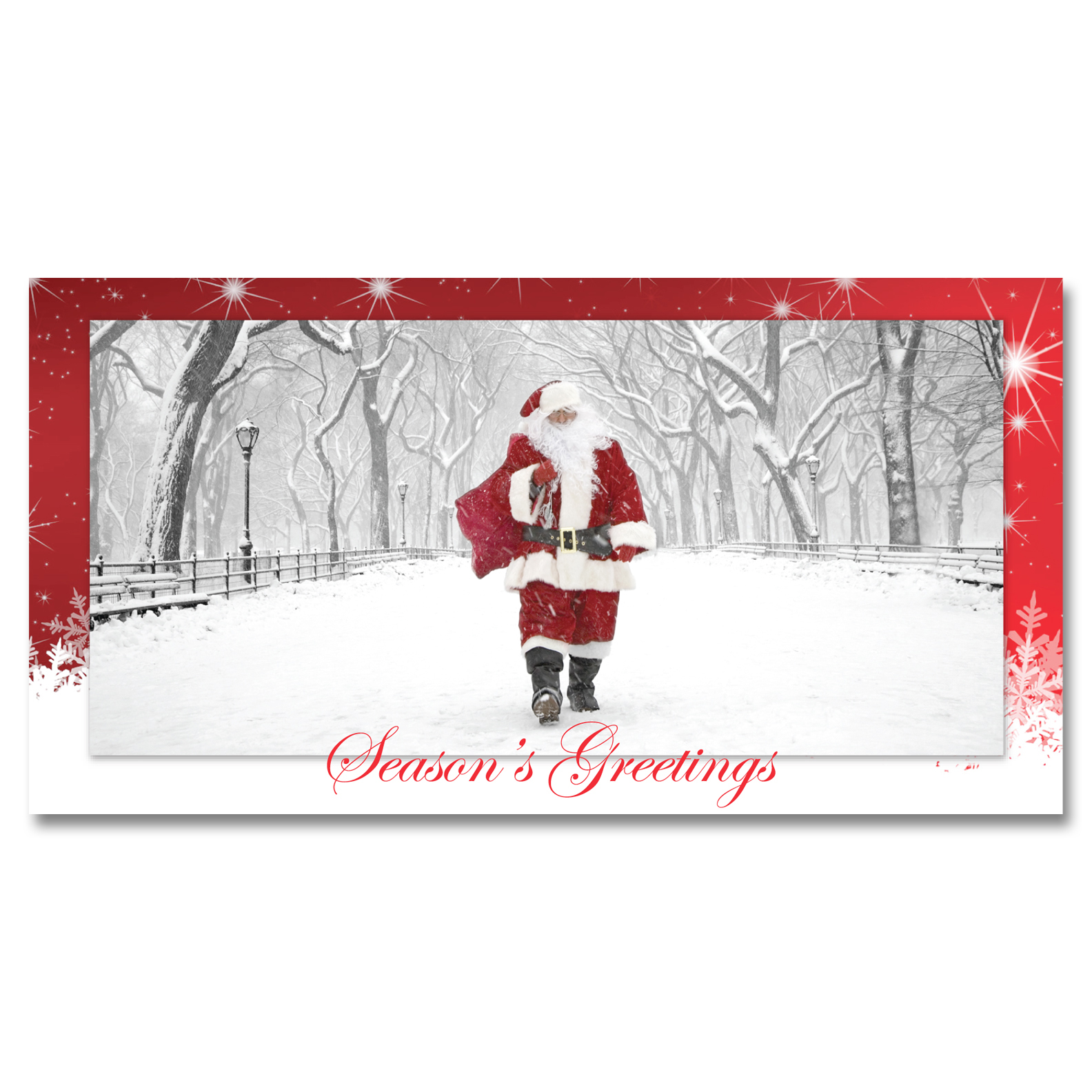 NY Christmas Money Cards Holders – Santa Walking on Poet Walk in Central Park New York –  Set of 6