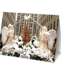 MC-3204 Christmas Angels at Rockefeller Center Boxed Cards with Red Envelopes set of 12 from NY Christmas Gifts Store