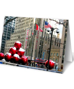 BMC3207 Red Christmas Balls in Midtown Manhattan boxed cards from NY Christmas Gifts Store