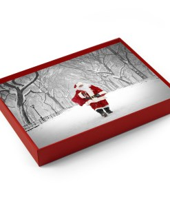 BMC3209 Santa Walking on Poet Lane in Central Park boxed cards from NY Christmas Gifts