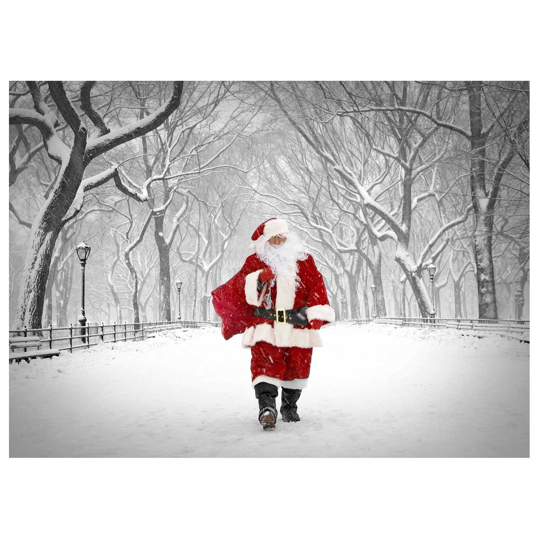 Santa Walking On Poet Walk In Central Park New York NYC