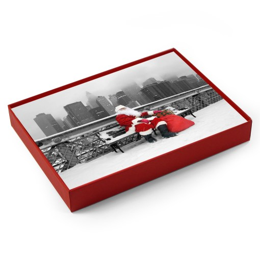 BMC3212 Santa Resting on a Bench on Brooklyn Bridge Boxed Cards from NY Christmas Gifts