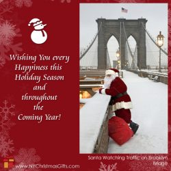 Free eCard Santa Watching Traffic on Brooklyn Bridge from NY Christmas Gifts