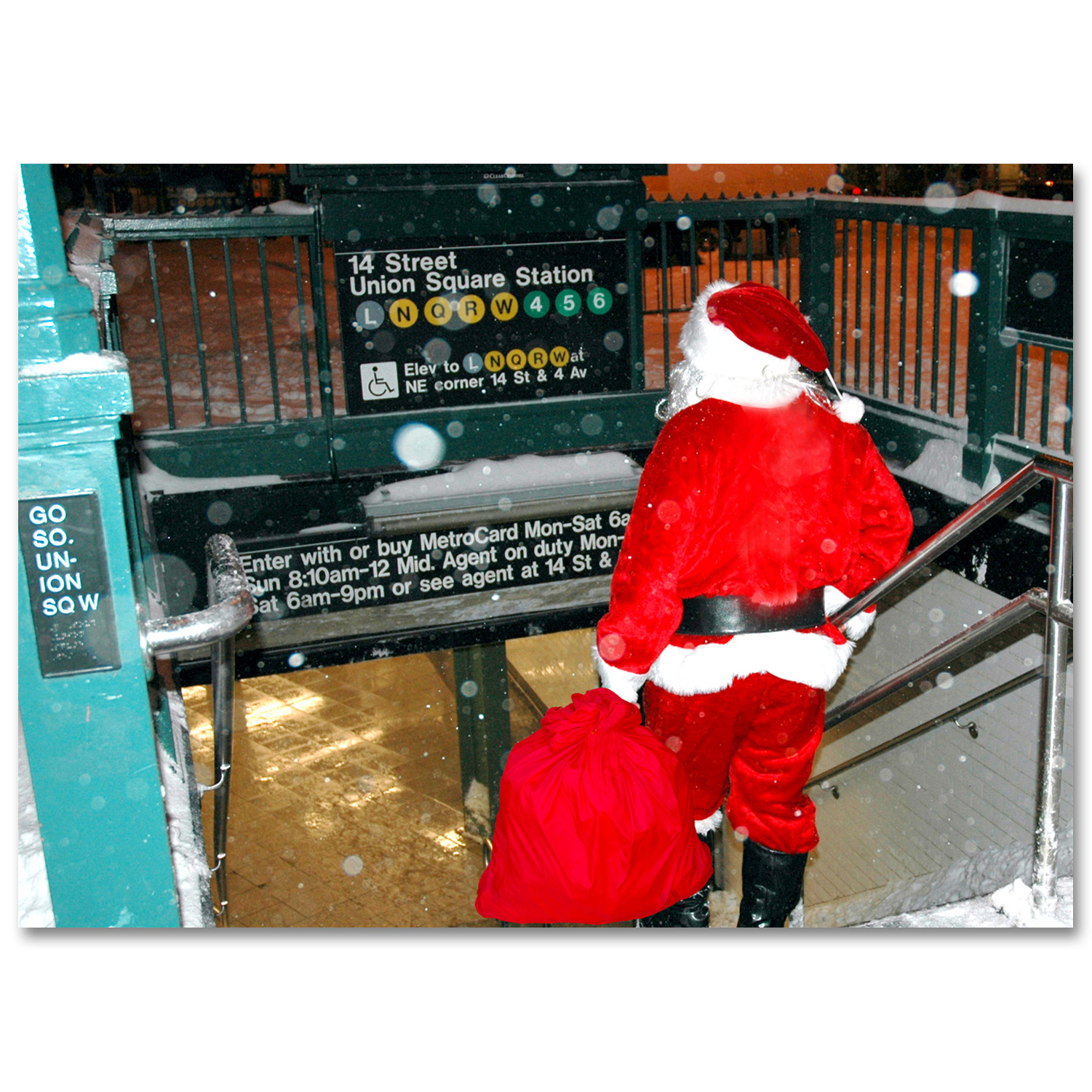 bmc3208 santa on union square subway station boxed cards from ny christmas gifts - Subway Christmas Eve Hours