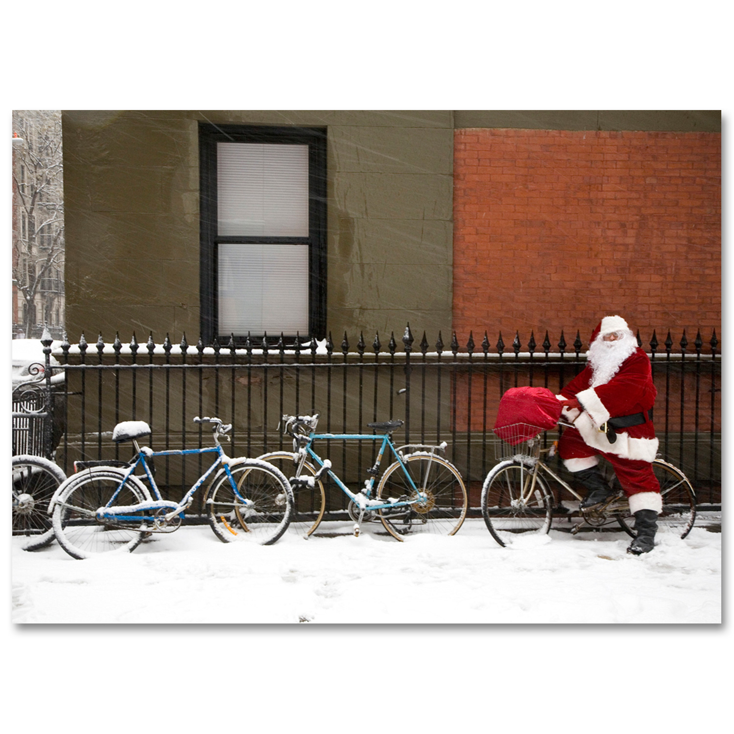 Santa on a Bicycle in Greenwich Village New York – NYC Christmas Boxed Cards Set of 12