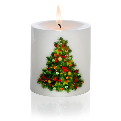 Decorated Christmas Tree Hand-printed Luxury Christmas Pillar Candle 3x3 light
