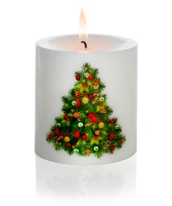 Decorated Christmas Tree Hand-printed Luxury Christmas Pillar Candle 3x3 light