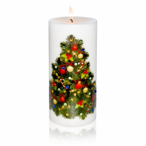 Decorated Christmas Tree Luxury Christmas Pillar Candle Hand-printed Rhinestones 3x6 lite