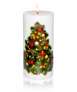 Decorated Christmas Tree Luxury Christmas Pillar Candle Hand-printed Rhinestones 3x6 lite