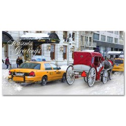 Holidays Money Greeting Cards Holders – White Carriage and Yellow Cab at Central Park South –  Set of 6 Cards, 6 Envelopes. Holidays in NYC Collection