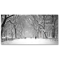 Holidays Money Greeting Cards Holders – Poet Walk in Central Park Snow –  Set of 6 Cards, 6 Envelopes. Holidays in NYC Collection