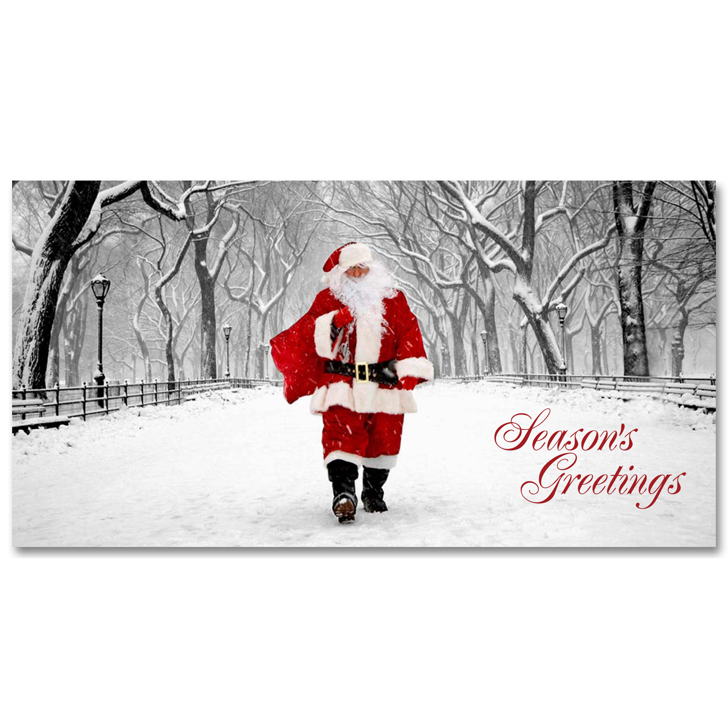 Holidays Money Greeting Cards Holders – Santa on Poet Walk in Central Park – Set of 6 Cards, 6 Envelopes. Holidays in NYC Collection