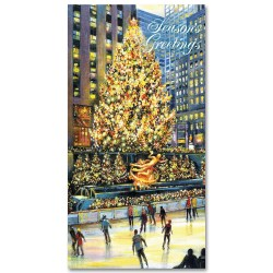 Holidays Money Greeting Cards Holders – Rockefeller Center Skating Rink – Set of 6 Cards, 6 Envelopes. Holidays in NYC Collection