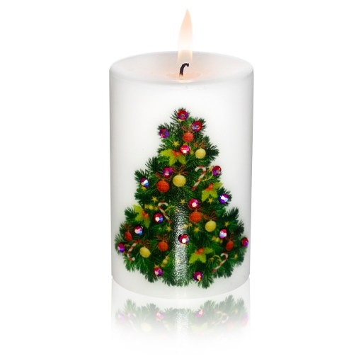 Merry Christmas Decorated Tree Luxury Candle 2x3 by Sam & Wishbone from NY Christmas Gifts