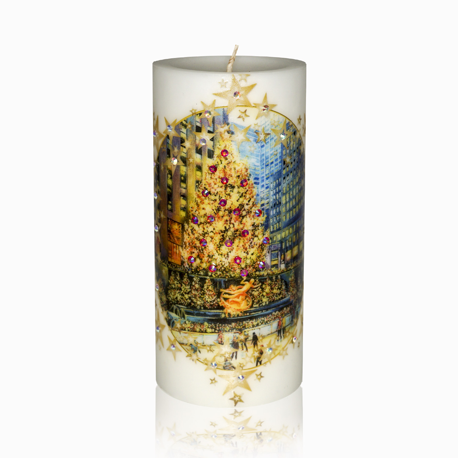 Luxury Christmas Pillar Candle – Rockefeller Center Christmas Tree with Skating Rink Hand-printed with Rhinestones