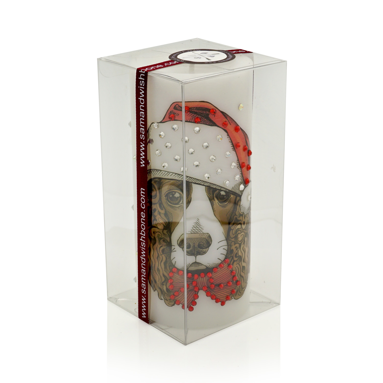 luxury new year of the dog pillar candle english springer spaniel