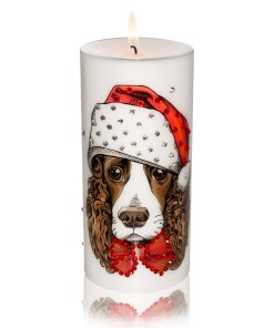 New Year 2018 Gift Candle English Springer Spaniel Luxury Dog Candle with Rhinestones from NY Christmas Gifts Store