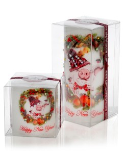 Year of The Pig Luxury Christmas Pillar Gift Candle w Rhinestones from NY Christmas Gifts
