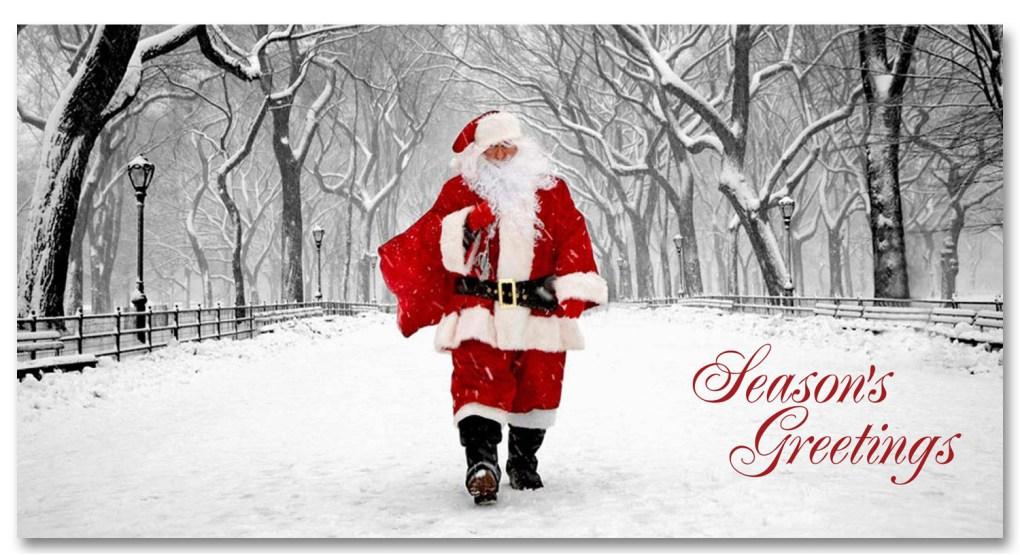 Santa on Poet Walk Central Park - NYC Christmas Money Cards Set