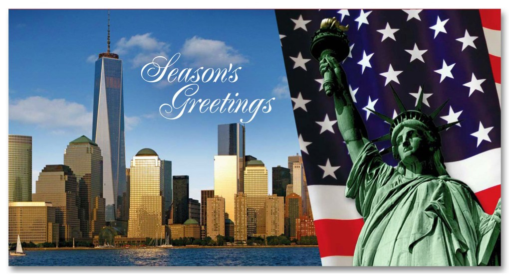Statue of Liberty & Freedom Tower – Holidays Money Greeting Cards Holders Set of 6 - NYC Holidays Money Cards