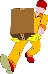Carrying a moving box.