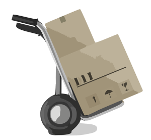 Two moving boxes stacked onto a trolley.