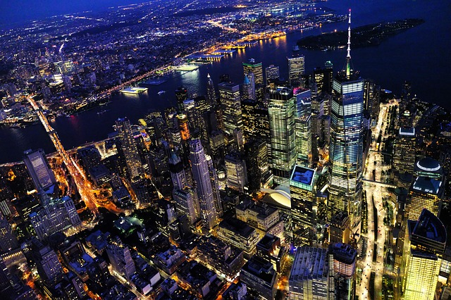 New York at night. View from the sky.