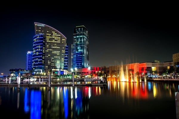 Buildings in Dubai during the night.
