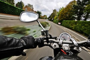 First-person view when riding a motorcycle.