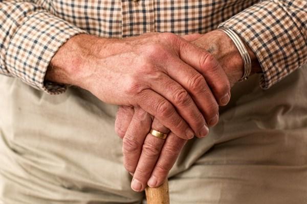 Hands of an elderly man.