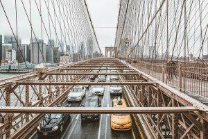 Traffic jam on the Brooklyn Bridge.