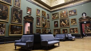 Many valuable paintings in a gallery.