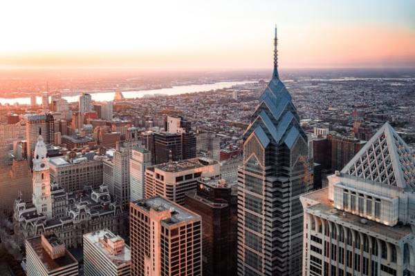 an areal view of Philadelphia, read about why are people moving from NYC to Philadelphia