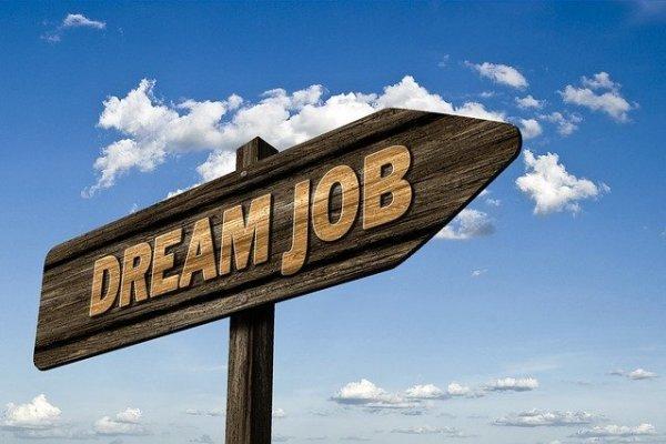 A dream job street sign.