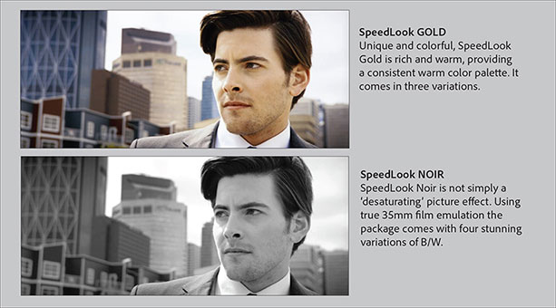 The October 2013 release of SpeedGrade CC will include a four sets of SpeedLooks, including Gold, Noir, Blue, and Neutral