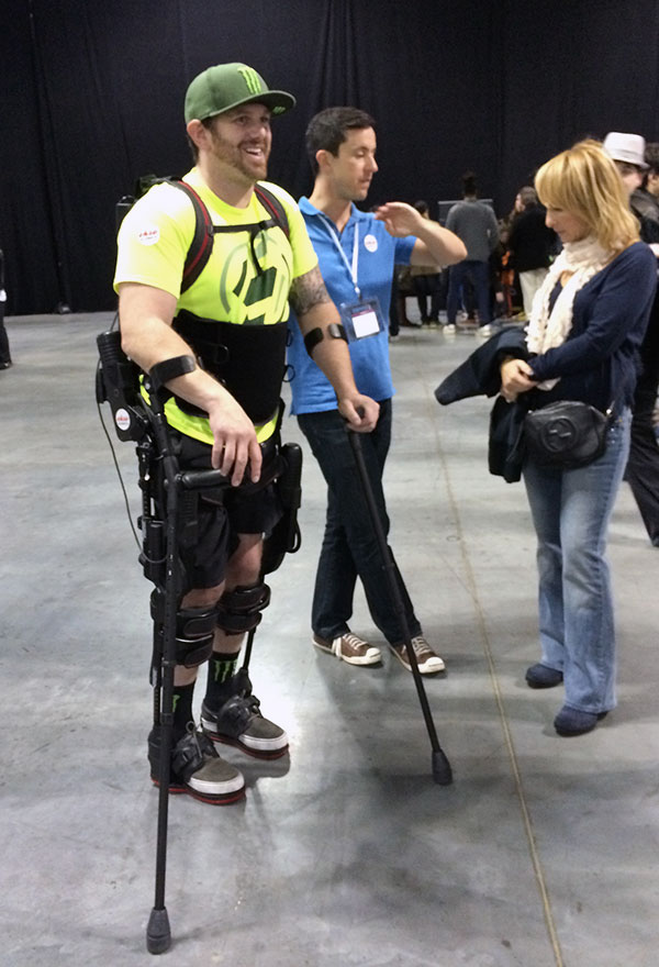 This employee from Ekso Bionics displayed one of its latest exoskeletons. Designed for rehabilitation, the company also licenses its products to military contractors and others.