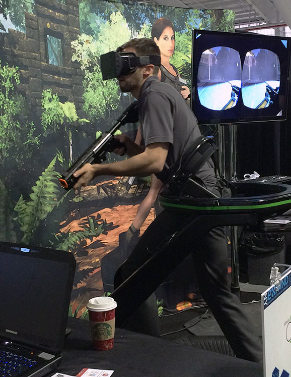 """Virtuix' Omni frees gamers from """"passive, seated gameplay"""" according to the company. The virtual reality interface allows users to walk through their favorite games, according to a spokesperson."""