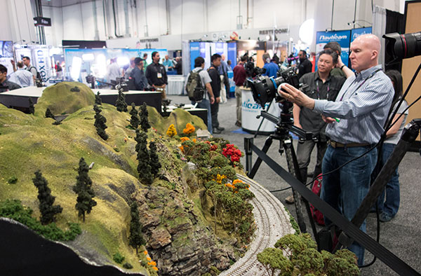 An HO model train set was among the popular subjects used to help demo cameras and lenses.