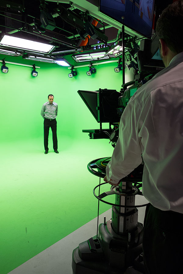 Large green screen cycloramas are a regular part of floor displays at NAB. Such setups allow for elaborate virtual studios that allow talent to move around more naturally.