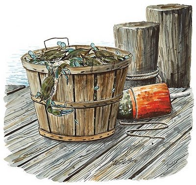 nyctalking crabs in a barrel
