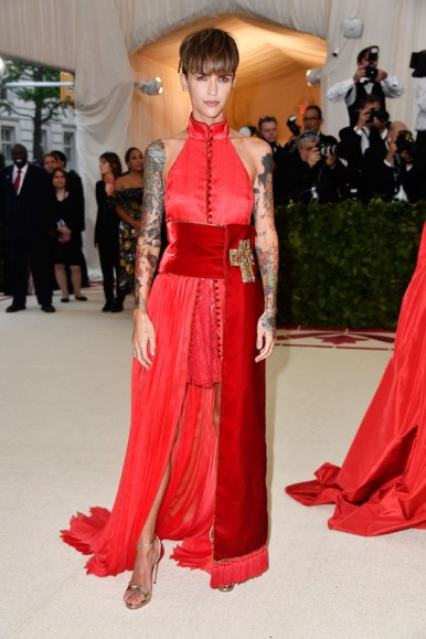 NEW YORK, NY - MAY 07:  Ruby Rose attends the Heavenly Bodies: Fashion & The Catholic Imagination Costume Institute Gala at The Metropolitan Museum of Art on May 7, 2018 in New York City.  (Photo by Frazer Harrison/FilmMagic)